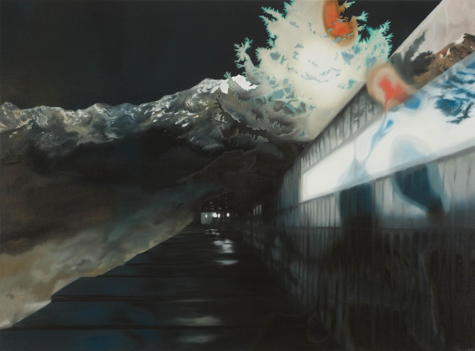 Nachtfahrt 2008, 62 x 83 cm, Öl auf Leinwand, Night Trip 2009