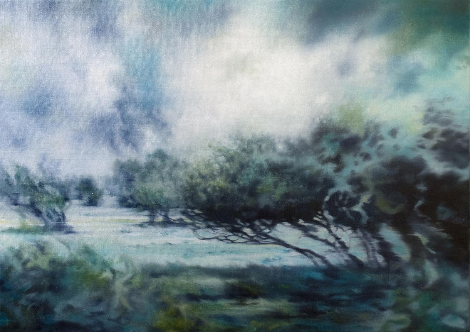 Weidelandschaft 2012, 50 x 70 cm, Öl auf Leinwand, Pasture Landscape 2012