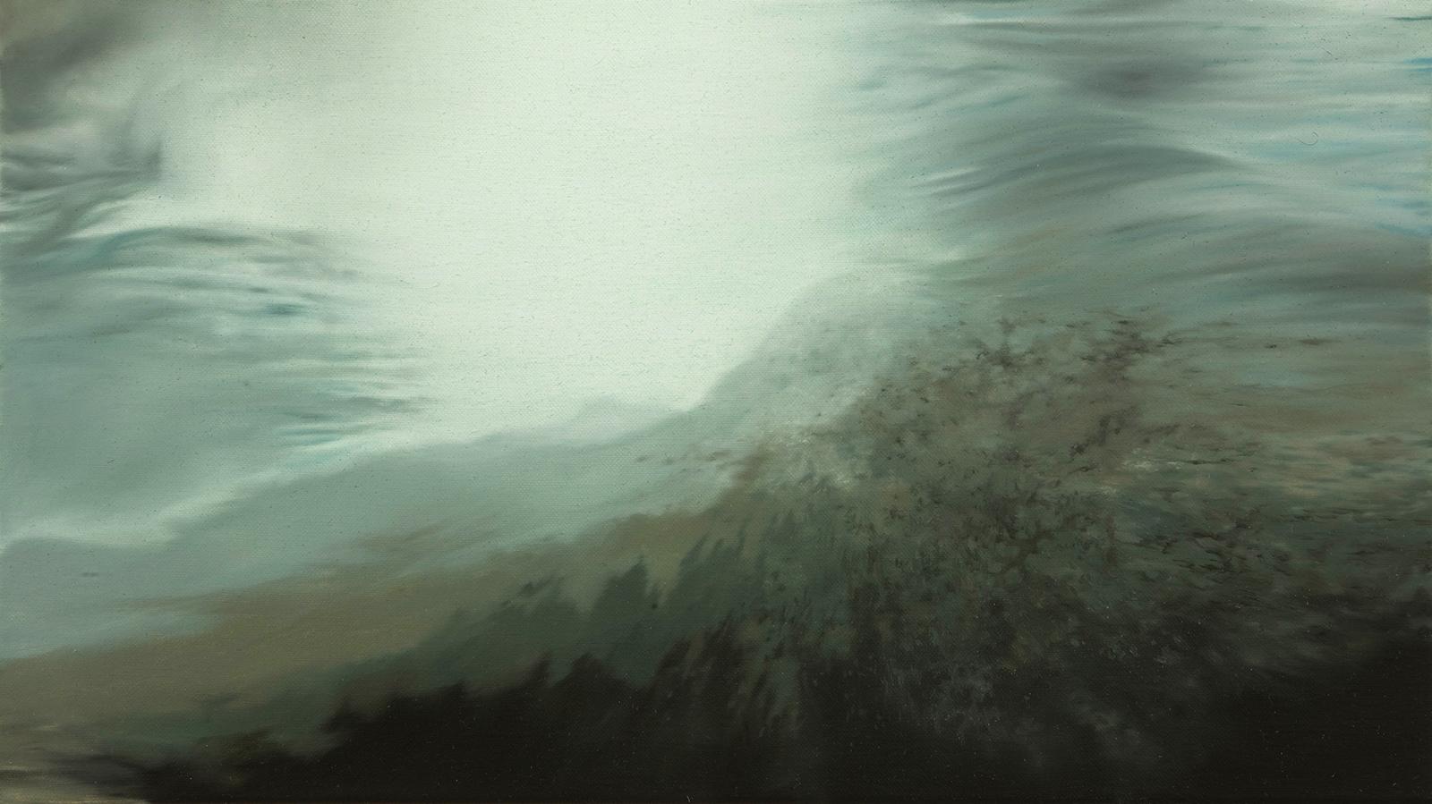 Nordmeer (Brandung) 2007, 30 x 52 cm, Öl auf Leinwand  North Atlantic Ocean (Breakwater) 2007, 30 x 52 cm, oil on canvas